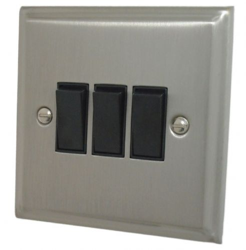 G&H DSN3B Deco Plate Satin Nickel 3 Gang 1 or 2 Way Rocker Light Switch